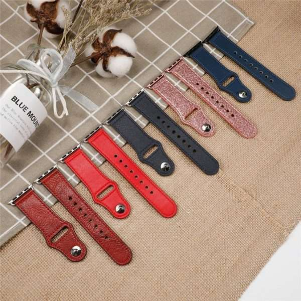 Leather strap For apple watch band