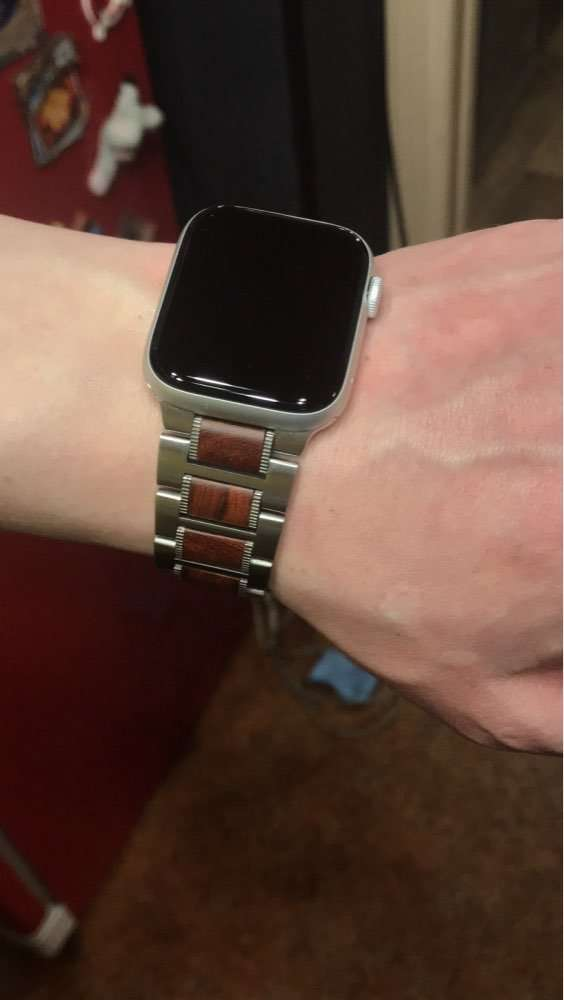 Stainless Steel and Wood Band for Apple Watch