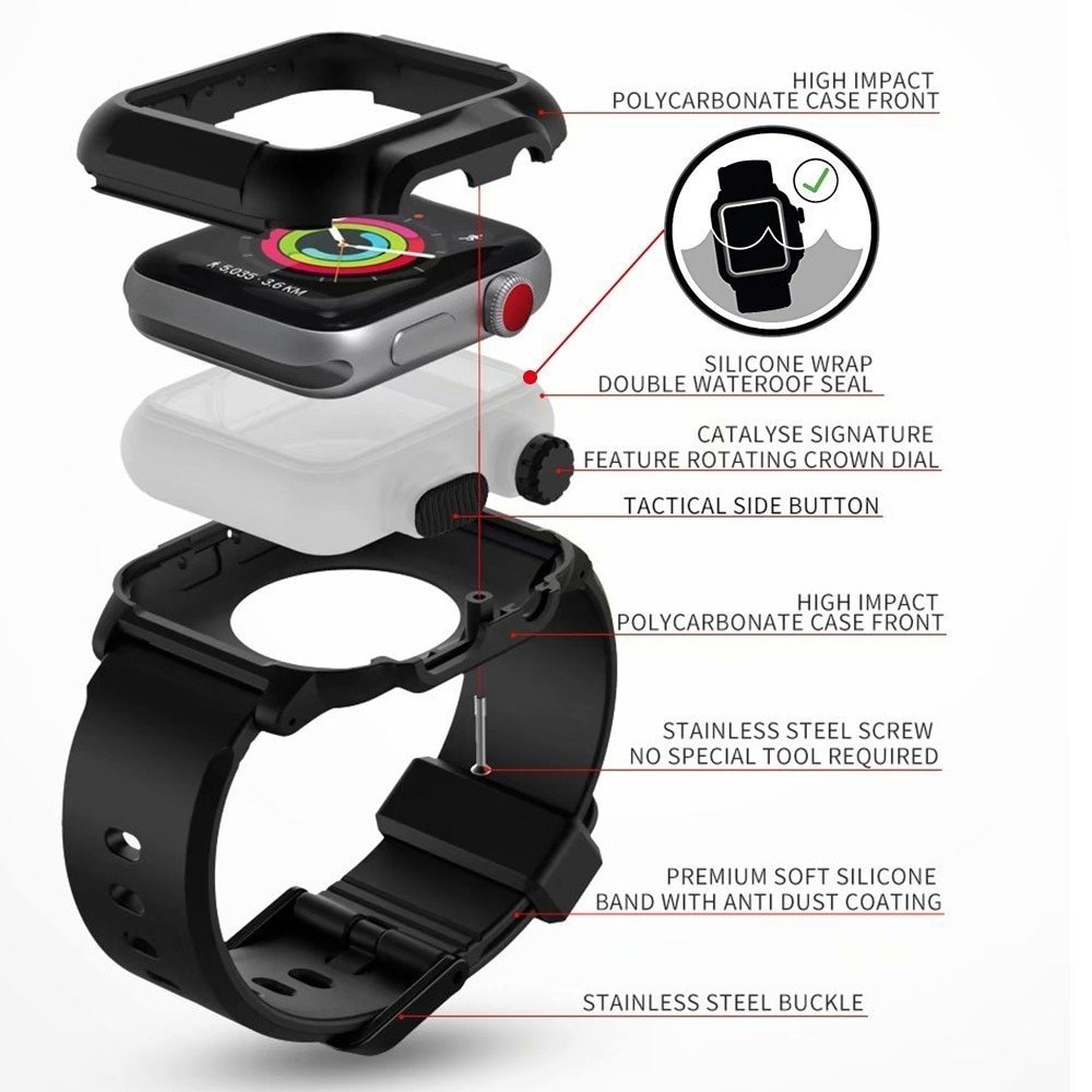 Silicone Waterproof case For Apple Watch band series 3 & 2 and 4&5