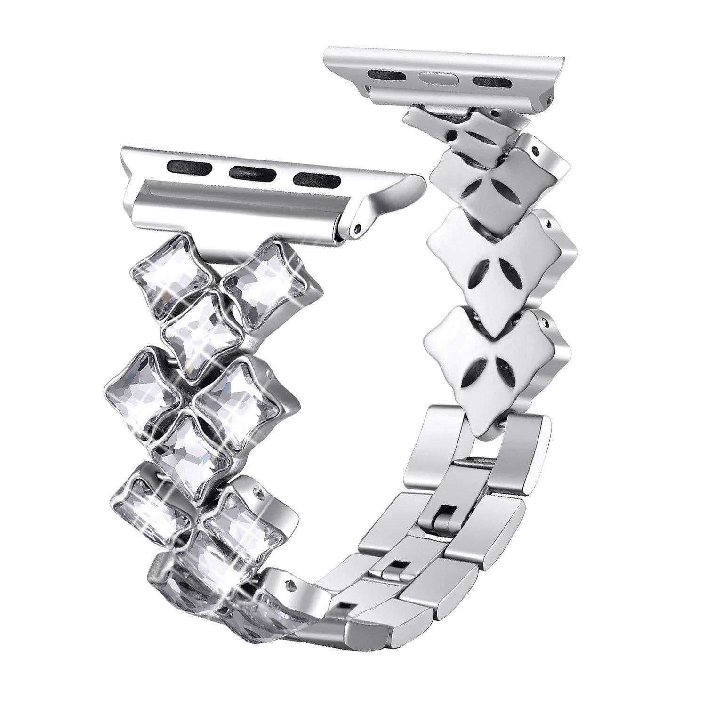 Women's Flower Shaped Crystal Bracelet for Apple Watch