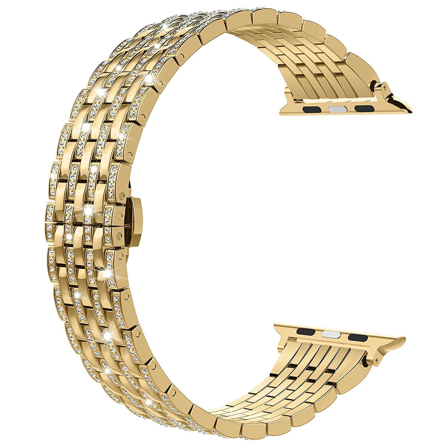 Luxury Diamond Gold Stainless Steel strap For Apple Watch Series 6 SE 5 4 3