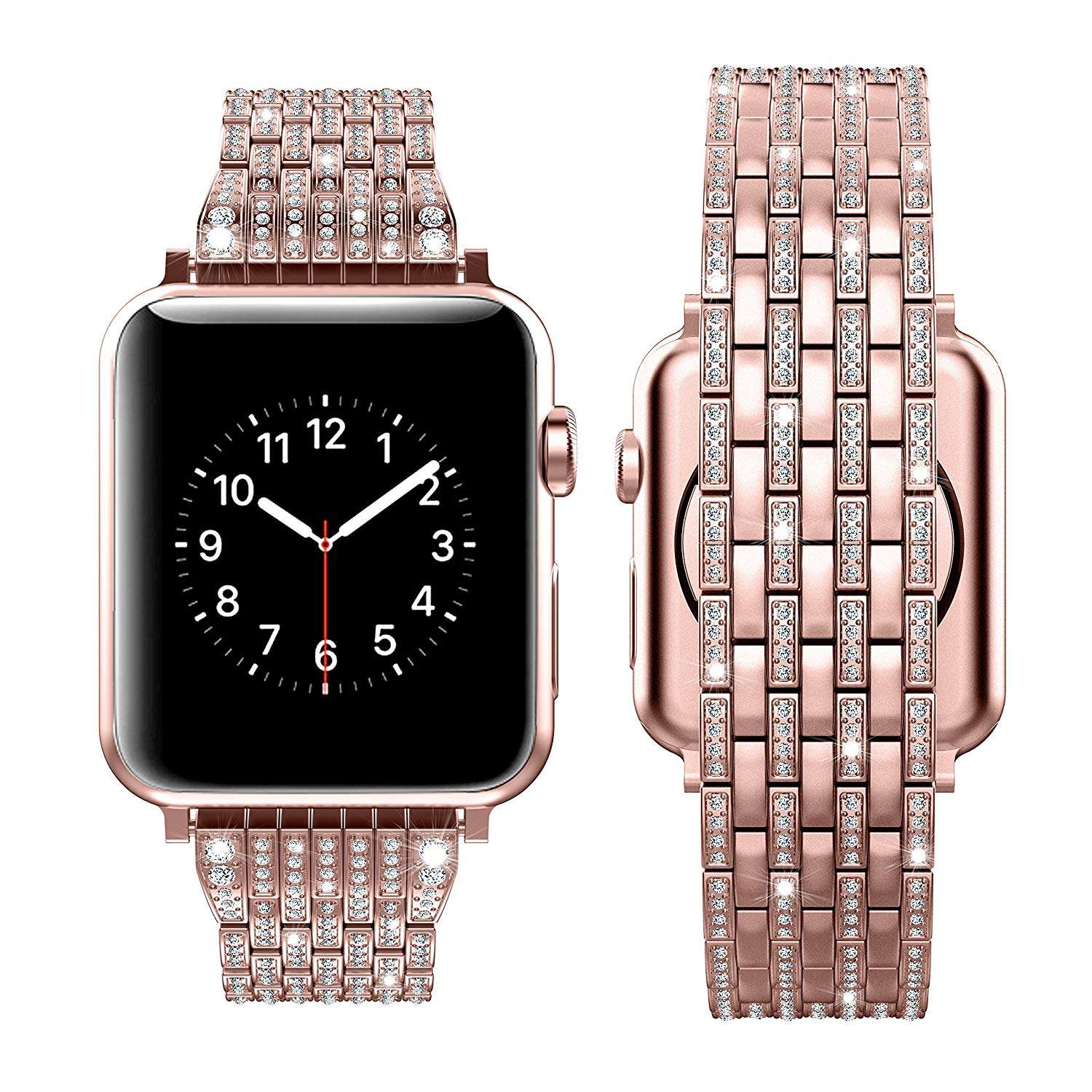 Luxury Diamond Stainless Steel Rose Gold strap For Apple Watch Series 6 SE 5 4 3