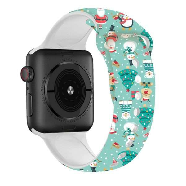 Christmas sport strap For Apple Watch band 44mm 40mm 38mm 42mm Cartoon Printed watchband Bracelet IWatch 1