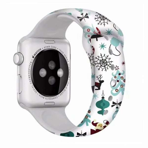 Christmas sport strap For Apple Watch band 44mm 40mm 38mm 42mm Cartoon Printed watchband Bracelet IWatch 2