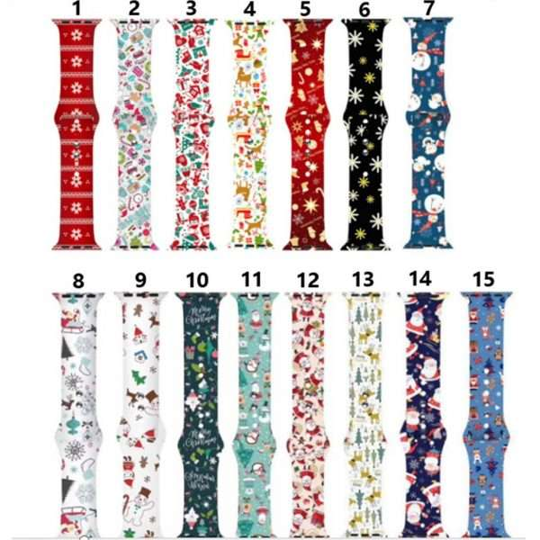 Christmas sport strap For Apple Watch band 44mm 40mm 38mm 42mm Cartoon Printed watchband Bracelet IWatch 4