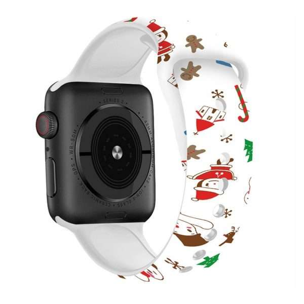 Christmas sport strap For Apple Watch band 44mm 40mm 38mm 42mm Cartoon Printed watchband Bracelet IWatch