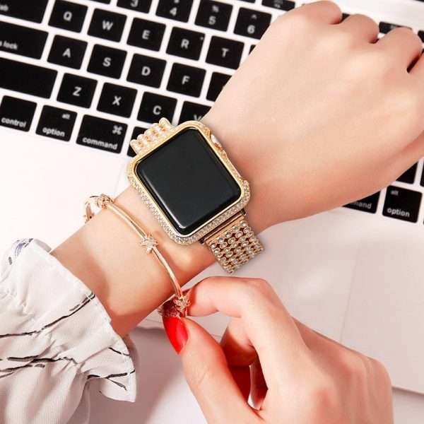 Luxury Diamond Case Stainless Steel strap For Apple Watch Series 6 SE 5 4 3 bands 16